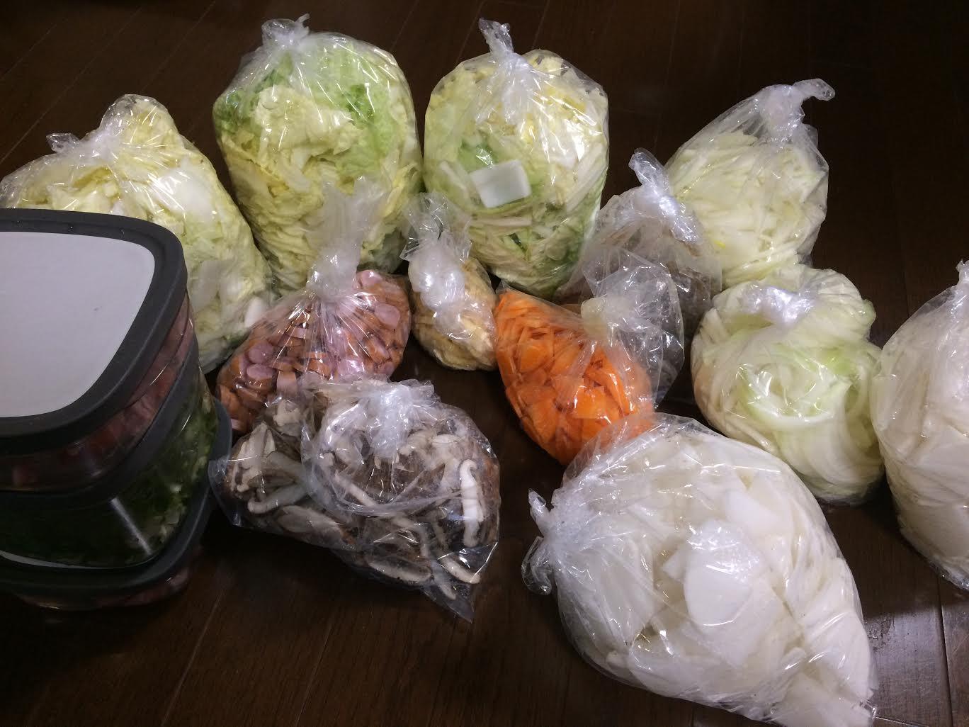 1月9日前準備として野菜切ったあと